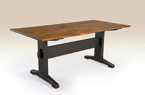 Image Is Loading Trestle Table 5 Foot Tiger Maple Wood Top