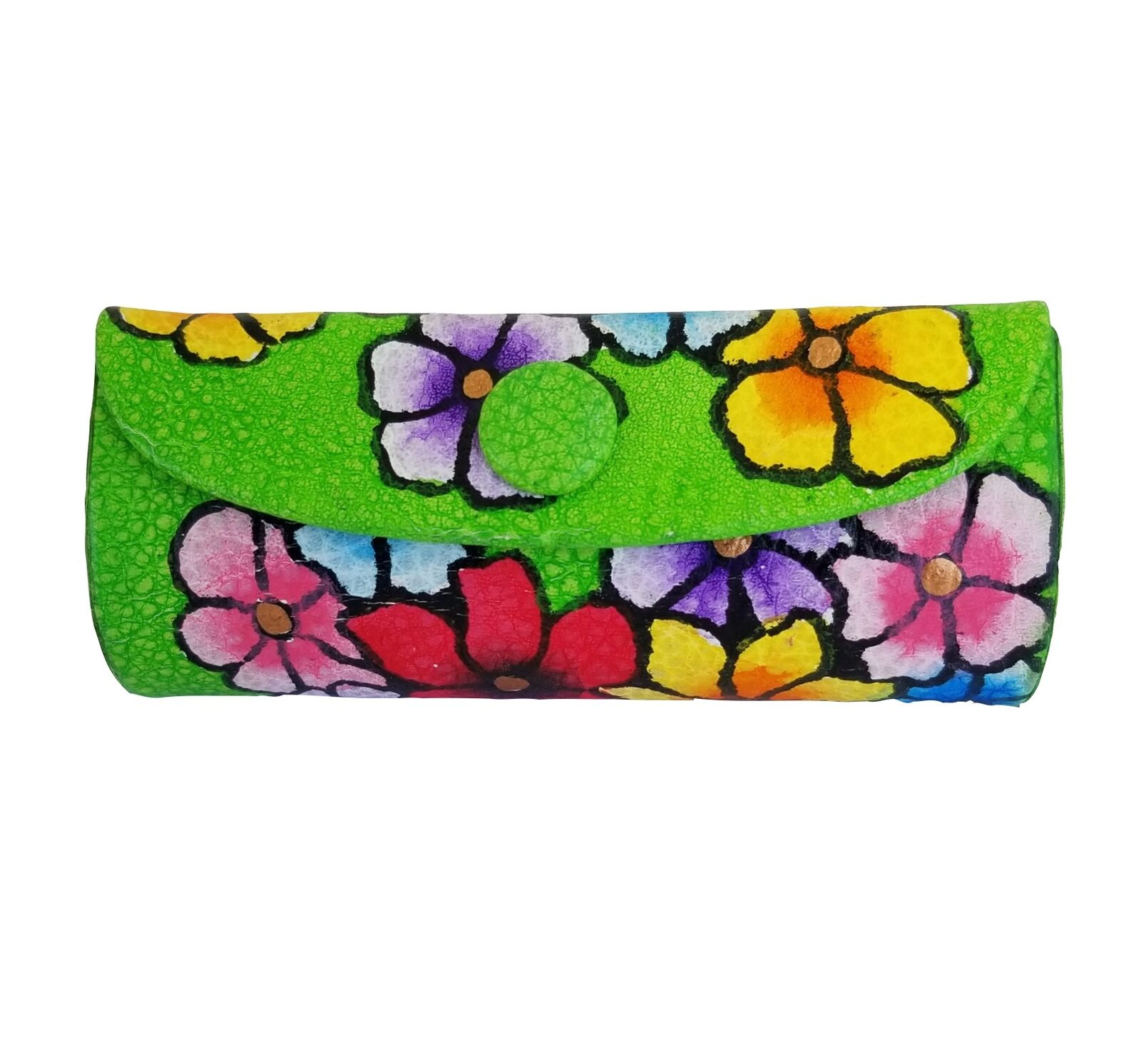 Magnifique Lipstick Case, Beautiful Hand Painted Leather, Holder w/ Small Mirror
