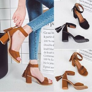 Fashion-Women-Fish-Mouth-Sandals-Ankle-High-Heels-Tassels-L-Party-Open-Toe-Shoes