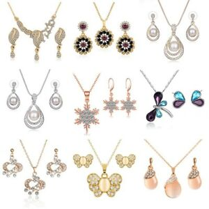 Women-039-s-Gold-Silver-Rose-Gold-Crystal-Rhinestone-Pendant-Necklace-Earring-Set