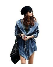 US Hot Womens Denim Trench Oversized Hoodie Ladies Jeans Jacket Coat Outerwear