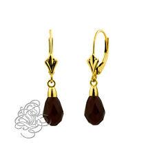 14k Yellow Gold Onix 9x6mm Garnet Crystal Pear Drop Leverback Earrings