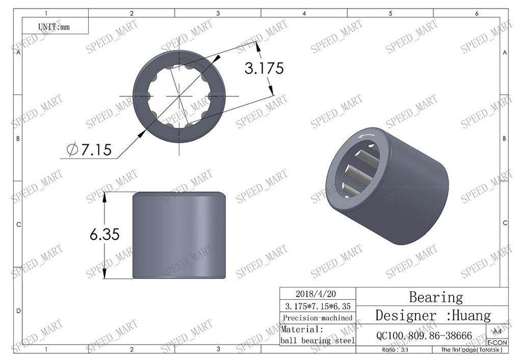 3.175mm*7.15mm*6.35mm 5Pcs RC02 One Way Clutch Mini Needle Roller Bearing