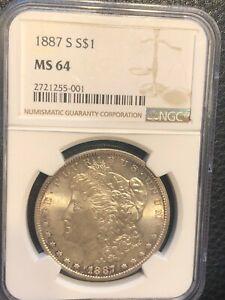 1887 S Morgan Silver Dollar  NGC MS 64