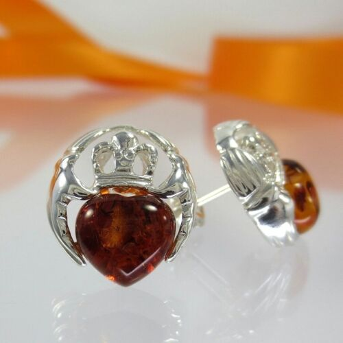 A182 Ohrringe mit Bernstein Amber 925 Silber Schmuck Irischer Claddagh Symbol