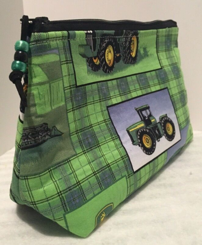 Considerate Green John Deere Tractor Zipper Pouch Cosmetic Ditty Travel Bag 10x6 New Luxuriant In Design