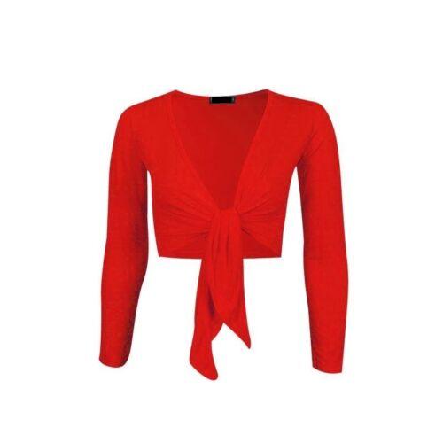 NUOVA linea donna Ladies Long Sleeve cravatta anteriore Bolero Ritagliata Spallucce Top Cardigan Tie
