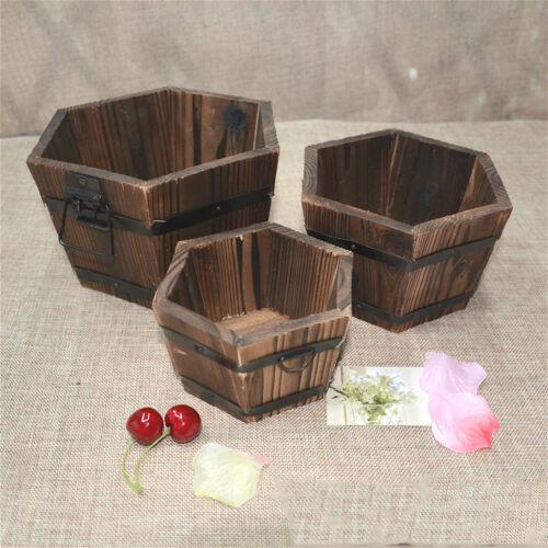 Flower Bucket Barrel Plant Pot Medium Size Hexagon Shaped Retro Decorative