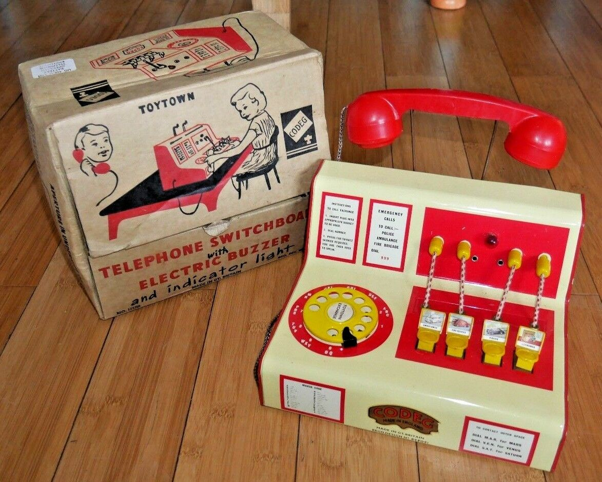 CODEG TELEPHONE SWITCHBOARD WITH ELECTRIC BUZZER VINTAGE 1950s RARE TIN TOY A814
