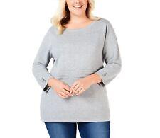 Karen Scott Womens Sweater Heather Gray Size Plus  V-Neck /_/_ B9D2
