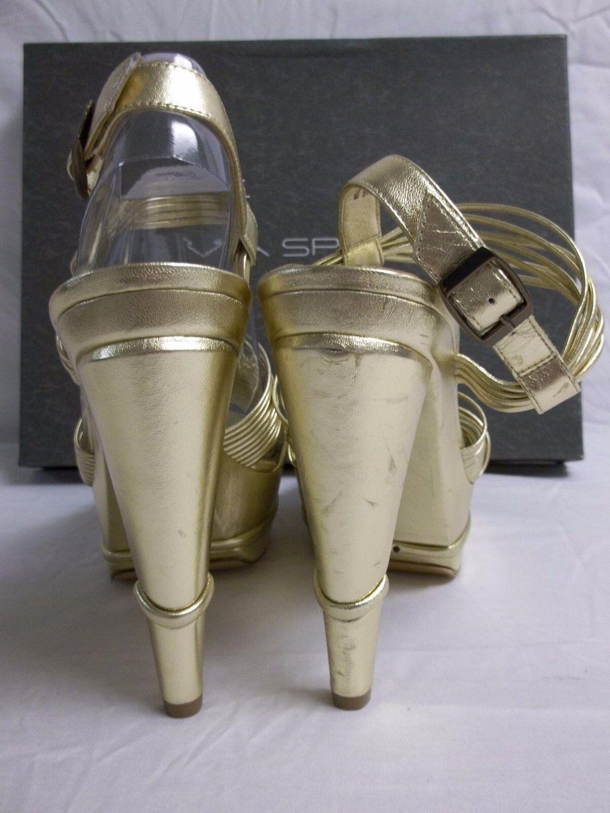 Via Spiga Größe 7.5 M Aida Aida Aida Gold Leder Open Toe Heels New Damenschuhe Schuhes NWB a9475e