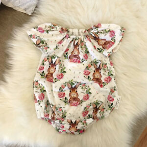 Newborn-Baby-Girls-Bunny-Floral-Romper-Jumpsuit-Bodysuit-Outfits-Clothes-Summer