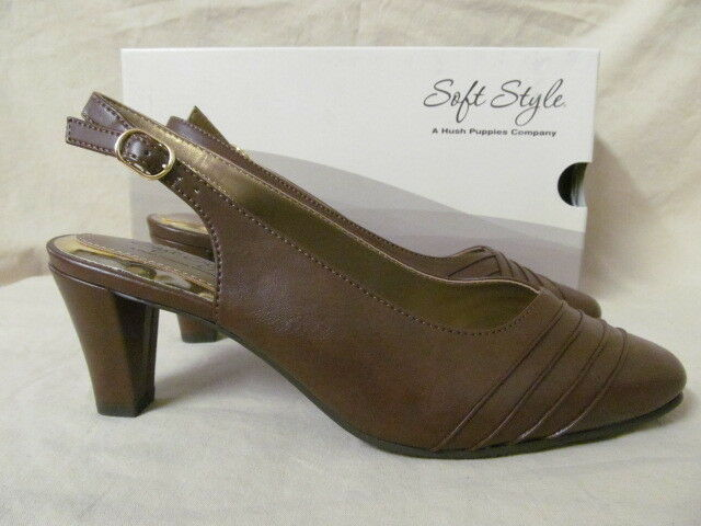 Soft Style 8 M Pleats As Punch Mid Brown Slingback Pumps 2 Heels H701193