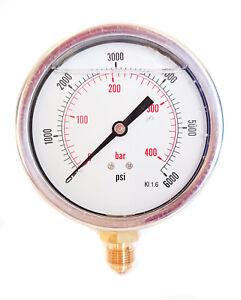Details about 100mm HYDRAULIC GLYCERINE FILLED PRESSURE GAUGE VERTICAL 3/8  or 1/2 BSP PSI BAR