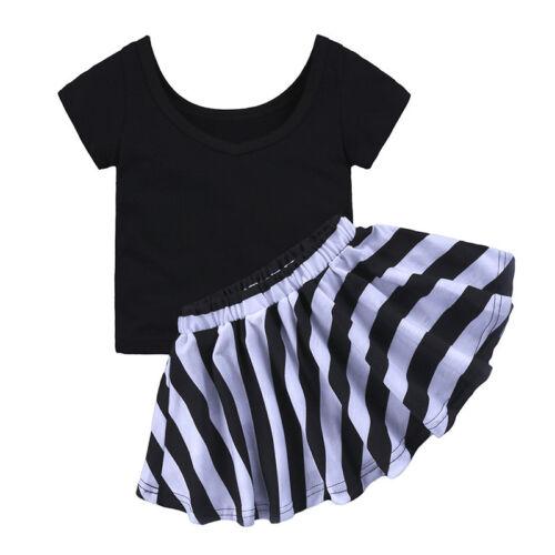 Striped Skirt Set Kids Summer Dress Outfits 2Pcs Baby Girls Clothes T-shirt