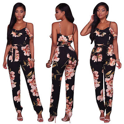 Women Spaghetti Strap Jumpsuit Bodycon Playsuit Club Party Long Trousers Suit