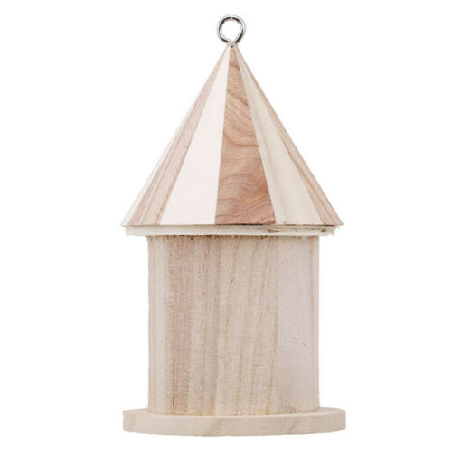 Wooden Birdhouse Bird HouseHanging Nest Box Home Hook Garden Decor DIY T