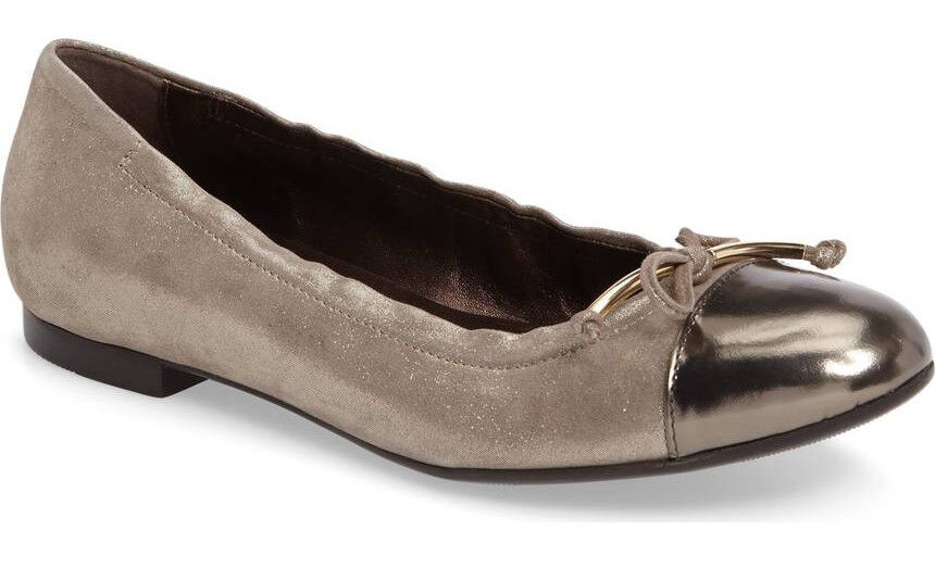 NEW AGL Cap Toe Bow Leather Ballet Flat 40/US 10 Ginger Shimmer/Pewter ATTILIO