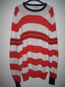 Pull-Faconnable-coton-raye-rouge-blanc-L