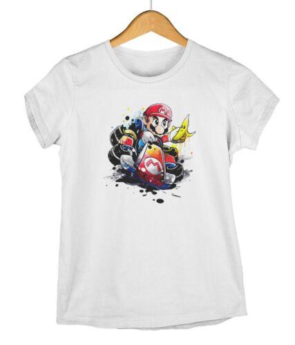 Mario Kart Water Colour Effect Adults /& Kids Gamer T-Shirt