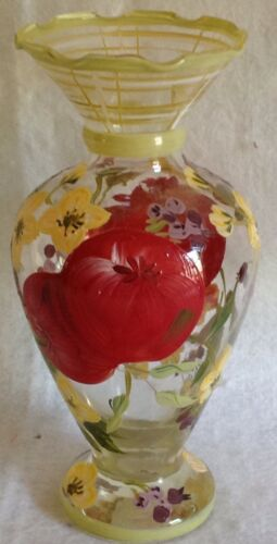 "TRACY PORTER HAND PAINTED VASE RED APPLES BLUEBERRIES BLOSSOMS 6.5"" TALL"