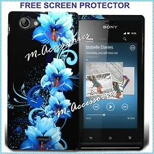 FLORAL SILICONE GEL CASE COVER SKIN FOR SONY XPERIA J ST26i MOBILE +SCREEN GUARD