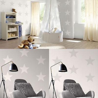 Star Wallpaper S Kids Stars Bedroom Feature Luxury White Grey By Rasch Ebay