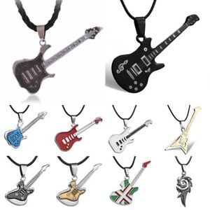 Cool-Punk-Men-039-s-Unisex-Stainless-Steel-Guitar-Pendant-Leather-Necklace-Jewelry