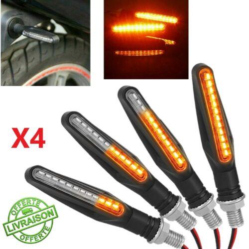 4pc Clignotants LED 12V Moto Scooter Quad Séquentiel Ampoule Eclairage Universel