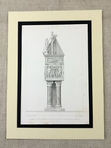 1857-Antique-Architecture-Print-Italy-Verona-Cathedral-Grave-Mausoleum-Tomb