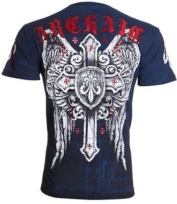 Archaic AFFLICTION Men T-Shirt PHENOMENON Cross Wings Tattoo Biker UFC M-4XL $40