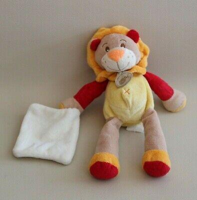 Ordinato Peluche Doudou Lion Beige Orange Rouge Jaune Avec Son Mouchoir Baby Nat' 26 Cm Prezzo Moderato