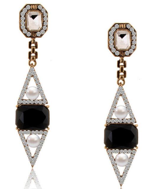 New Retro Elegant Resin Rhinestone Triangle Pearl Dangle Geometry Stud Earring
