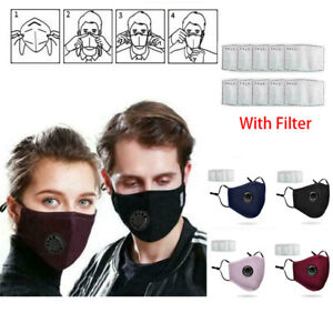 PM2.5 Anti Air Pollution Face MASK Respirator With Filters Washable&Reusa