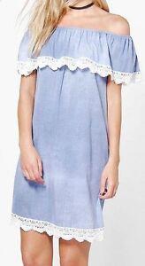 Details About Womens Ladies Crochet Lace Trim Bardot Off Shoulder Denim Jeans Tunic Dress Top