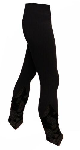 GRIGIO Nero Lungo Stretch Donna Pantaloni Leggings stampati S M 36 38 Boho Goa Yoga
