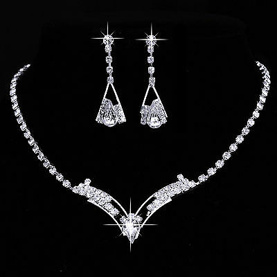 Wedding Bridal Bride Rinestone Crystal Silver Necklace Earrings Jewelry Set Gift
