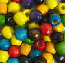 112 Wood Large Hole Macrame Beads 16mm Mixed Painted Colors Vintage