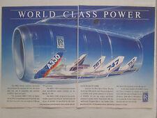 1989-90 PUB ROLLS-ROYCE RB211 TRENT AIRBUS A330 MD-11 BOEING 747 767 ORIGINAL AD