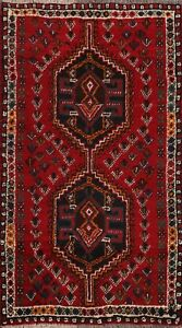 Tribal-Hand-knotted-Geometric-Abadeh-Area-Rug-Wool-Oriental-Foyer-Carpet-3-039-x4-039