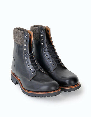 GRENSON MASON WOOL COLLAR BLACK CALF HIKING BOOTS-New Rare Deadstock Retail 420$