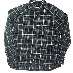 Columbia-Mens-Black-Plaid-L-Flannel-Shirt-Omni-Wick-Advanced-Evaporation-VGUC