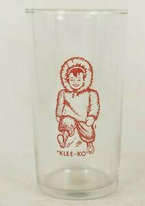 """CLIQUOT """"KLEE-KO"""" 4 7/8"""" soda pop fountain drink glass Eskimo boy"""