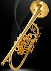 Professional 24K Gold Plated Rotary Trumpet Bb With Soprano Key Leather Case