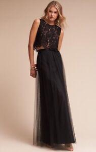 d6f9a9287d NEW $220 BHLDN Jenny Yoo Louise Black Tulle Long Maxi Skirt   eBay
