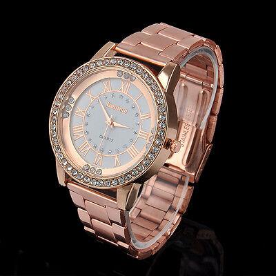 New Crystal Rhinestone Plated Stainless Steel Analog Quartz Women's Wrist Watch