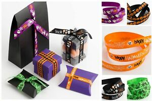 Halloween-Ribbon-Grosgrain-9mm-16mm-Craft-Gifts-Lanyard-Collar-Spiders-Bats