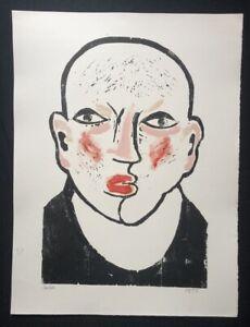 Peter-Grasso-Hauer-Portrait-farbholzschnitt-firmato-a-mano-prova-di-stampa