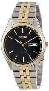 Seiko-Men-039-s-SNE034-Two-Tone-Solar-Bluish-black-Dial-Watch