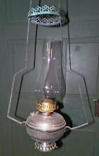 Antique Hanging Lamp Kerosene Nickel Plated Brass Kitchen Converts 2 Table Light